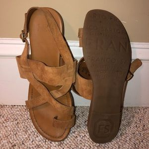 Camel brown strappy sandals